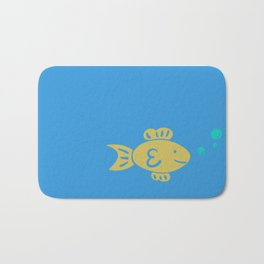 Goldfish on Blue Bath Mat