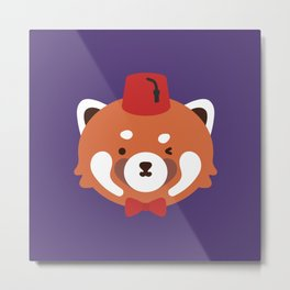 Red Panda in a Fez and Bowtie Metal Print