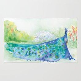 Peacock in the Garden Watercolor Rug