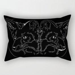 Fox Twins (black) Rectangular Pillow