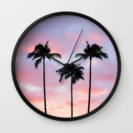 Palm Trees Sunset Photography Wall Clock