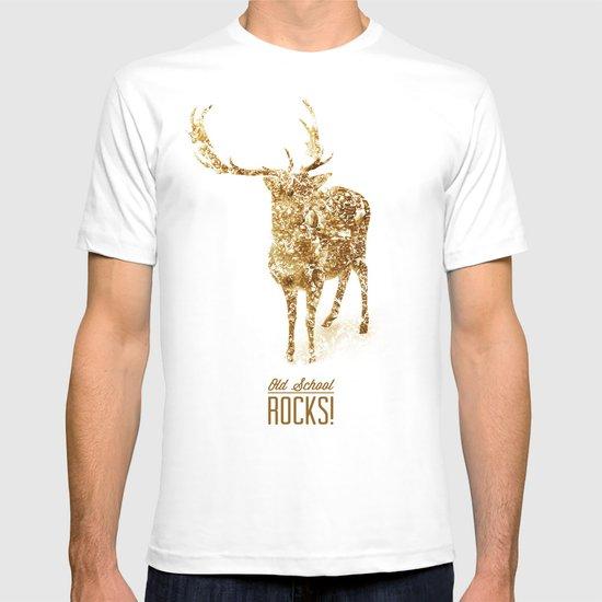 Old School Rocks! Gold Deer Version T-shirt
