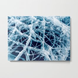 Cracked Ice Lake Surface in Khovsgol, Mongolia Metal Print