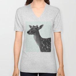 Deer on Mint Unisex V-Neck