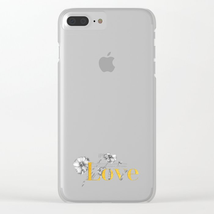 Love - Gold flowers and polka dots on white Clear iPhone Case