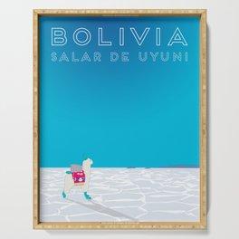 Bolivia Salt Flats Travel Poster Serving Tray