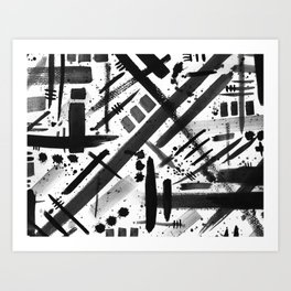 Abstract Black and White Watercolor Brush Lines Bold Modern Painting Design Art Print