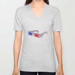 Retro 3D Glasses - Blue and Red Unisex V-Neck