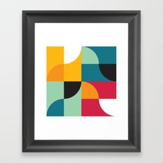 Geometric Pattern #31 (yellow red green curves) Framed Art Print