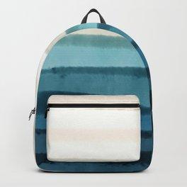 Playful Pacific Ocean waves_Skydiver Blue Utopia & Khaki palette _watercolor color block Backpack