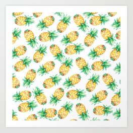 Tropical sunshine yellow green watercolor pineapple Art Print