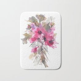 Red Water Blooms Bath Mat