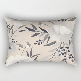 Modern, Boho, Floral Prints, Beige, Gray and White Rectangular Pillow