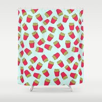 fries Shower Curtains featuring Fries by weheartstore