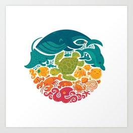 Aquatic Rainbow (white) Art Print