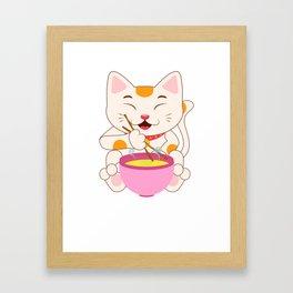 Kawaii japanese anime cat ramen noodles shirt Framed Art Print