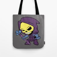 skeletor Tote Bags featuring Lil Skeletor by Cynthia Vasquez