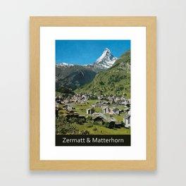 Retro Swiss travel Zermatt and Mount Matterhorn  Framed Art Print