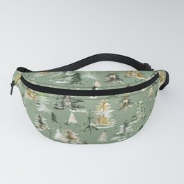 Watercolor Winter Trees Green Fanny Pack