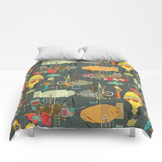 steampunk sky dark Comforters