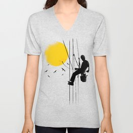 worker plugging the sun  Unisex V-Neck