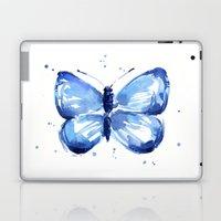Butterfly Watercolor Blue Butterflies Laptop & iPad Skin