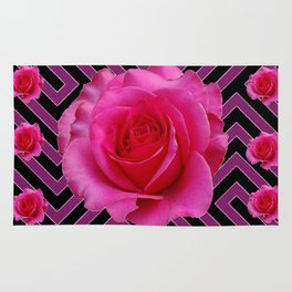 FUCHSIA PINK ROSES ON PUCE-BLACK GRAPHIC Rug