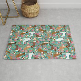 Boxer dog breed florals flower dog pattern gifts for pure breed lovers boxers Rug