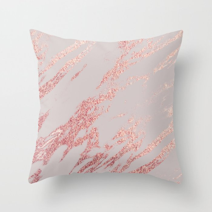 Porcelain Grey Rose Gold Throw Pillow By Marbleco Society6