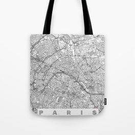 Paris Map Line Tote Bag