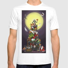 Happy 20th Anniversary The Nightmare Before Christmas Art Print (Night Time) White 2X-LARGE Mens Fitted Tee