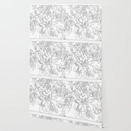 Large flowers pencil effect Wallpaper