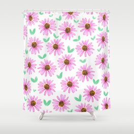 Pink Flower 21 with Leaves Shower Curtain
