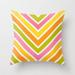Chevron Citrus Stripes 3 Throw Pillow