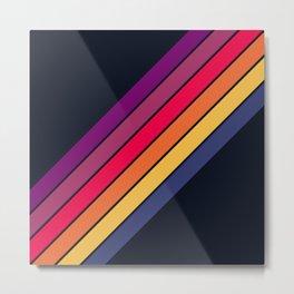 Fantasma - 70s Rainbow Colors Vintage Style Retro Stripes Metal Print