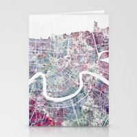 new orleans Stationery Cards featuring New Orleans  by MapMapMaps.Watercolors