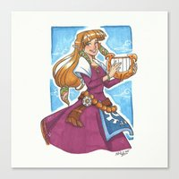 legend of zelda Canvas Prints featuring Zelda by Nikki Abrego