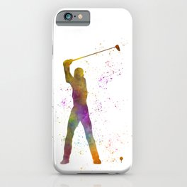 Man practicing golf in watercolor 04 iPhone Case