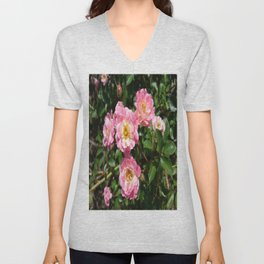 White and Pink Rose Unisex V-Neck