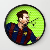 messi Wall Clocks featuring Lionel Messi by Just Agung