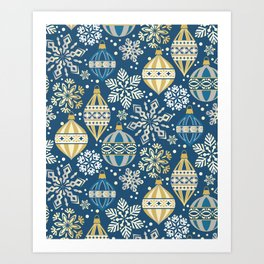 Christmas Ornaments and Snow Art Print