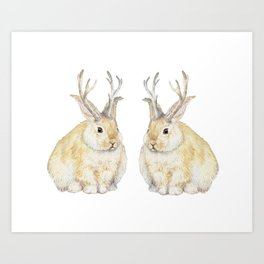 Watercolor Grumpy Jackalope Antler Bunny Art Print