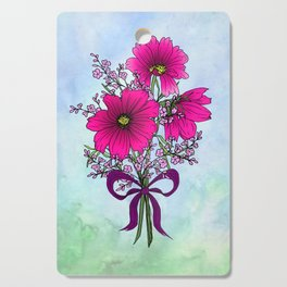 Magenta Cosmos with German Statice Bouquet on Sky Cutting Board