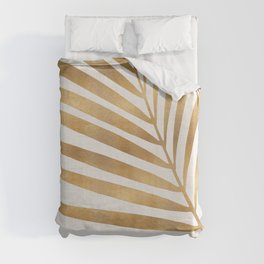 Metallic Gold Palm Leaf Duvet Cover