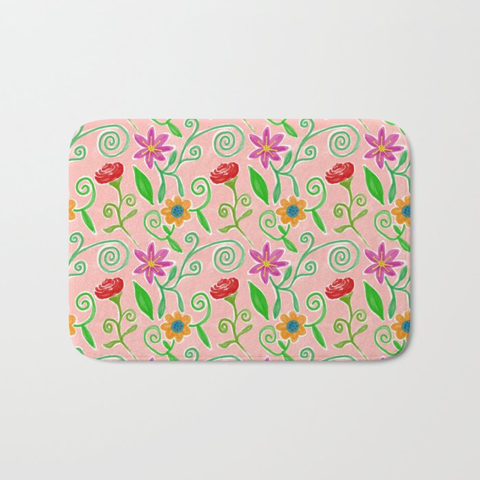 Lovely Colorful Floral Pattern Bath Mat
