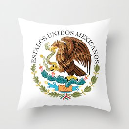 Coat of Arms & Seal of Mexico on white background Throw Pillow