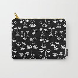 Funky Faces in Black Carry-All Pouch