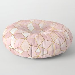 PINK CHAMPAGNE GRADIENT CUBE PATTERN (Gold Lined) Floor Pillow