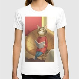 A cat reading a book T-shirt