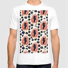 papaya pattern White MEDIUM Mens Fitted Tee